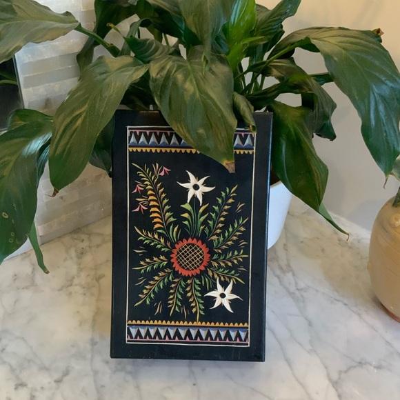 Sweet Black Botanical Hand Painted Wood Stash Box